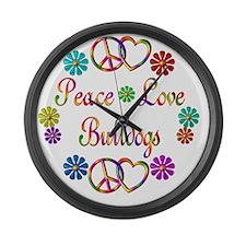 Peace Love Bulldogs Large Wall Clock
