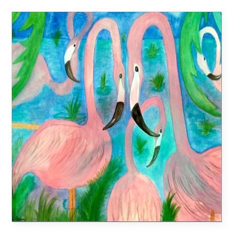 "Flamingo party Square Car Magnet 3"" x 3"""