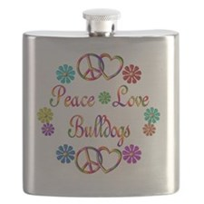 Peace Love Bulldogs Flask