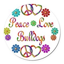 Peace Love Bulldogs Round Car Magnet