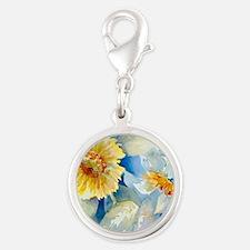 Sunflowers SQ2 Silver Round Charm