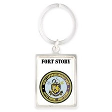 Fort Story with Text Portrait Keychain
