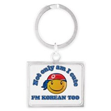 North Korean Smiley Designs Landscape Keychain