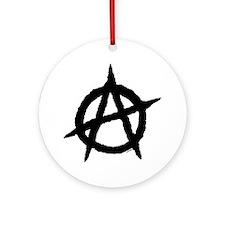 Anarchy14x14BlackOnWhitepng Round Ornament