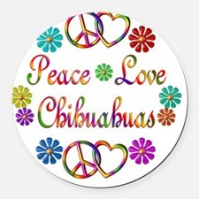 Peace Love Chihuahuas Round Car Magnet