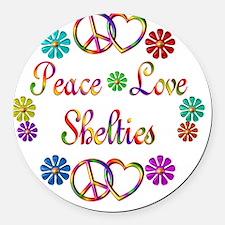 Peace Love Shelties Round Car Magnet