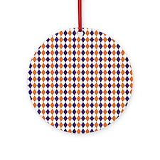 Clemson Argyle Sock Pattern South C Round Ornament