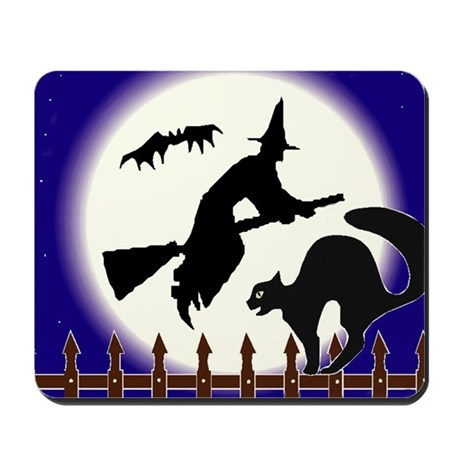black cat on fence with bat and witch Mousepad