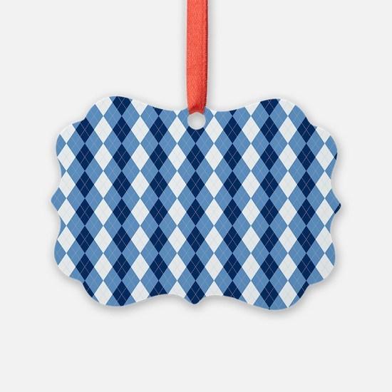 Carolina Blue Argyle Sock Pattern Ornament