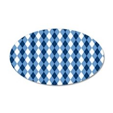 Carolina Blue Argyle Sock Pa 35x21 Oval Wall Decal