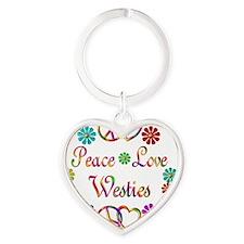 Peace Love Westies Heart Keychain