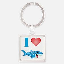 I Love Whale Sharks Square Keychain