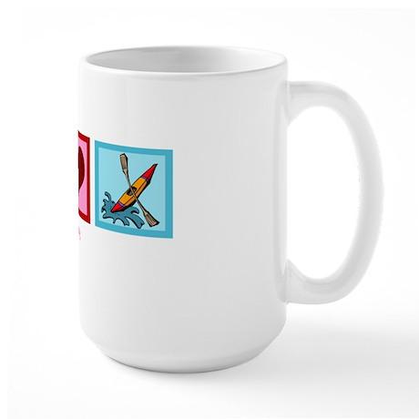 Peace Love Kayaking Large Mug