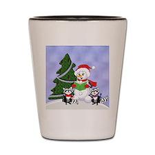 Christmas Racoons Shot Glass