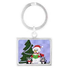 Christmas Racoons Landscape Keychain