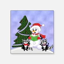 "Christmas Racoons Square Sticker 3"" x 3"""