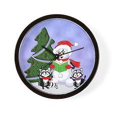 Christmas Racoons Wall Clock