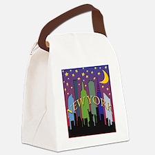 New York City Skyline rainbow Canvas Lunch Bag