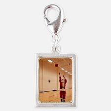 Basketball Santa Silver Portrait Charm