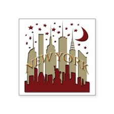 "New York City Skyline hot Square Sticker 3"" x 3"""