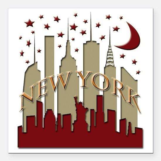 "New York City Skyline ho Square Car Magnet 3"" x 3"""