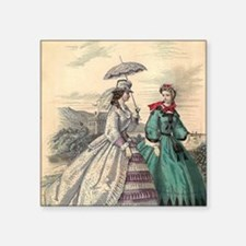 "Victorian Women Square Sticker 3"" x 3"""