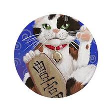 "Maneki Neko of Abundance 3.5"" Button"
