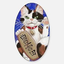 Maneki Neko of Abundance Sticker (Oval)