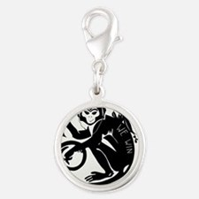 Laughing Monkey Burning Man Lo Silver Round Charm