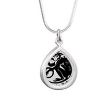 Laughing Monkey Burning  Silver Teardrop Necklace