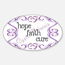 CF Hope Faith Cure Curls Sticker (Oval)
