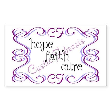 CF Hope Faith Cure Curls Sticker (Rectangle)