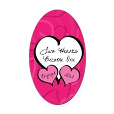 Pink Two Hearts Become One Engaged Oval Car Magnet