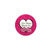 Pink Two Hearts Become One Engaged 201 Mini Button