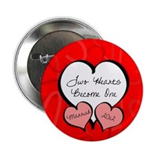 """Red Two Hearts Married 2012 2.25"""" Button"""