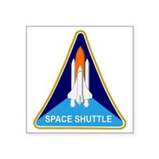 "Space Shuttle Shield Square Sticker 3"" x 3"""