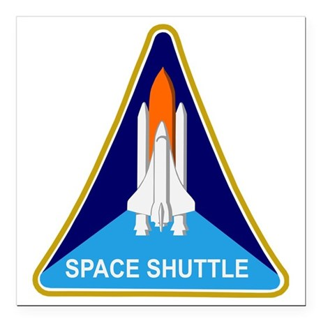 "Space Shuttle Shield Square Car Magnet 3"" x 3"""