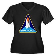 Space Shuttl Women's Plus Size Dark V-Neck T-Shirt
