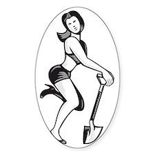 Pin-up Girl With Shovel Spade Retro Decal