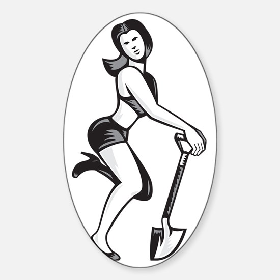 Pin-up Girl With Shovel Spade Retro Sticker (Oval)