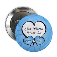 """Blue Two Hearts Married 2012 2.25"""" Button"""