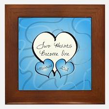 Blue Two Hearts Married 2012 Framed Tile