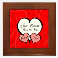 Red Two Hearts Engaged 2012 Framed Tile
