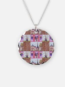 Paris Inspired Pointillism W Necklace