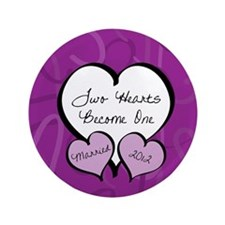 """Purple Two Hearts Married 2012 3.5"""" Button"""