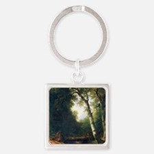 A creek in the woods by Asher Brow Square Keychain