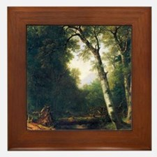 A creek in the woods by Asher Brown Du Framed Tile