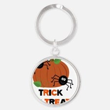 Trick or Treat Spiders with Pumpkin Round Keychain