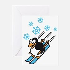 penguin ski Greeting Card