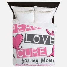 - Peace Love A Cure Breast Cancer Queen Duvet